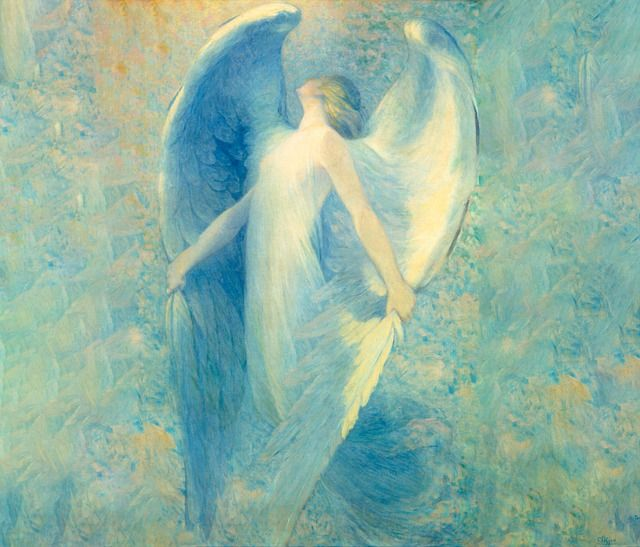 angel-woman-unfolding-wings-on-blue-gree-fantasy-background