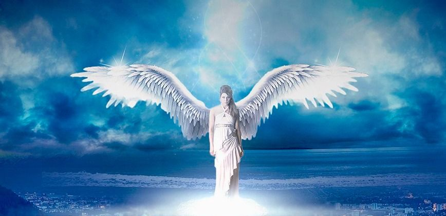 white-angel-with-wings-wide-open-illuminated-by-light-above-on-blue-background